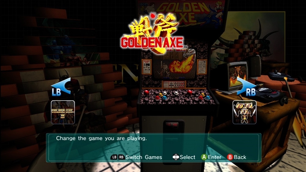 Golden Axe Collection menu