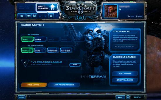schermo di matchmaking di StarCraft 2 non caricato