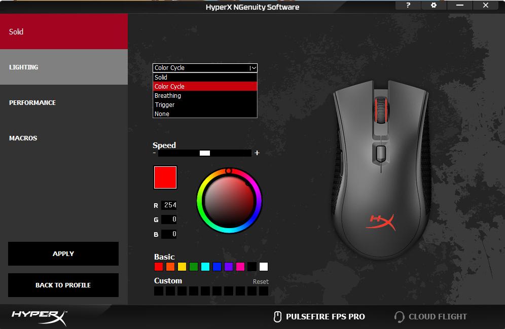 Image result for HyperX Pulsefire FPS Pro Save setups to on-board memory