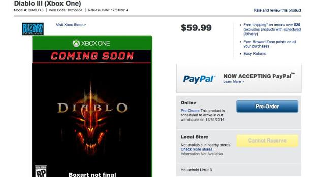 Xbox One Listing of Diablo 3 Surface